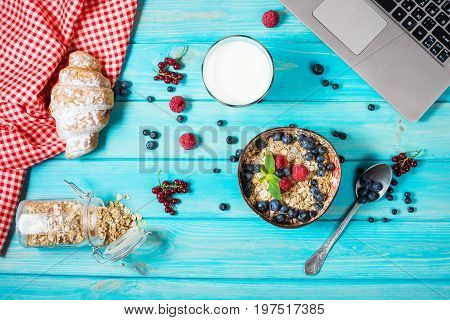 Multigrain wholewheat healthy cereals with fresh berry for breakfast. Top view