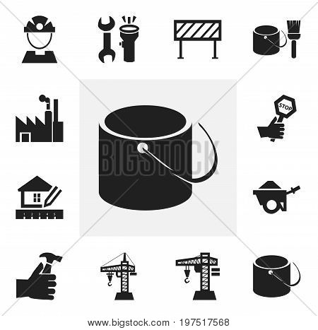 Set Of 12 Editable Structure Icons. Includes Symbols Such As Tools, Lifting Equipment, Endurance And More