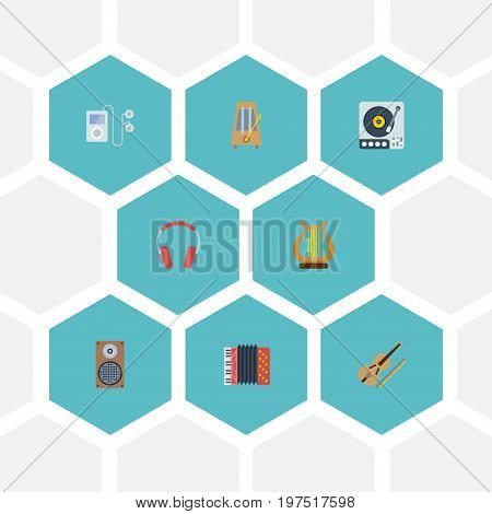 Flat Icons Turntable, Audio Box, Harmonica And Other Vector Elements