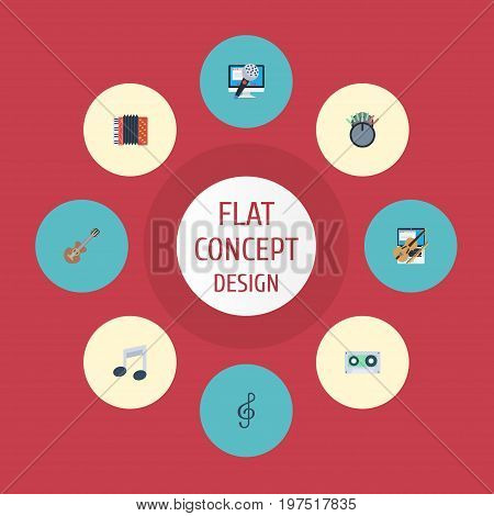 Flat Icons Tape, Tone Symbol, Fiddle And Other Vector Elements