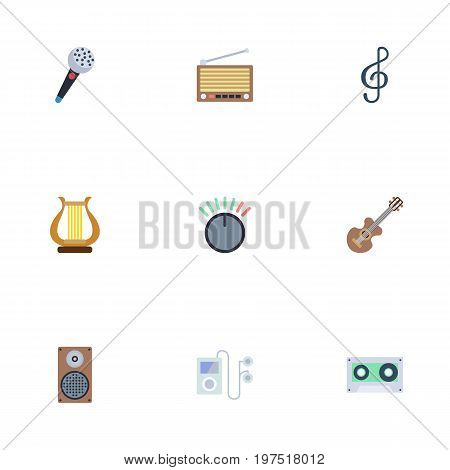 Flat Icons Radio, Quaver, Knob And Other Vector Elements