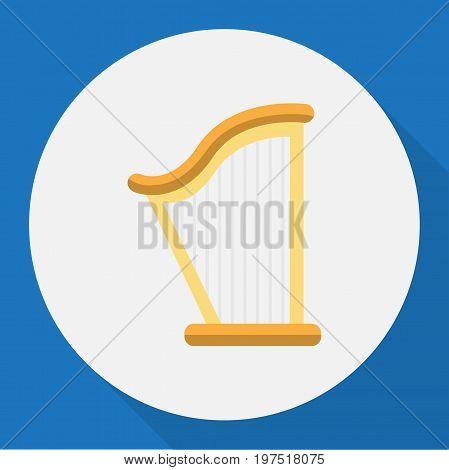 Vector Illustration Of Audio Symbol On Harp Flat Icon
