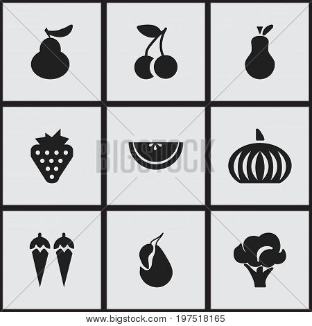 Set Of 9 Editable Fruits Icons. Includes Symbols Such As Duchess, Gourd, Cantaloupe And More