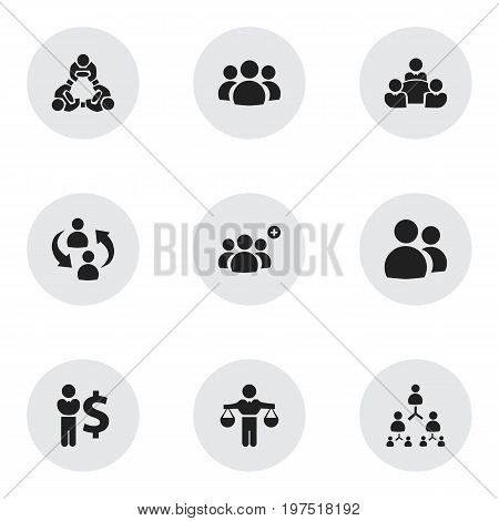 Set Of 9 Editable Business Icons. Includes Symbols Such As Finance Director, Finding Solution, Corporate And More