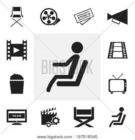 Set Of 12 Editable Cinema Icons. Includes Symbols Such As Chair, Ticket, Camera Strip And More