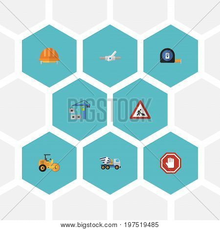 Flat Icons Steamroller, Caution, Cement Blender And Other Vector Elements