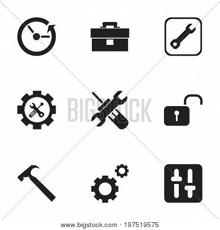 Set Of 9 Editable Toolkit Icons. Includes Symbols Such As Screwdriver Wrench, Mechanic Cogs, Equalizer And More