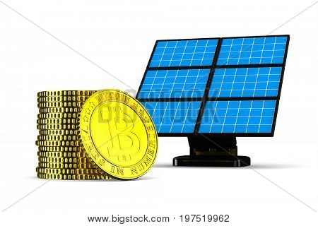 solar battery and bitcoin on white background. Isolated 3D illustration