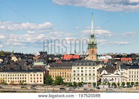 Stockholm, Sweden - July 14, 2017: View Over Gamla Stan (old Town) With German Church In Stockholm,