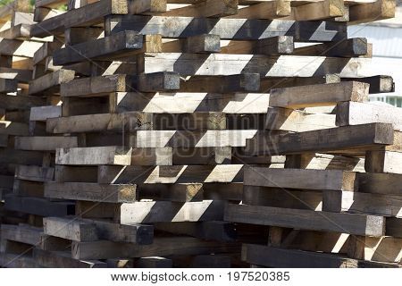 Elements of wooden pallets for loading and unloading cargo Russia