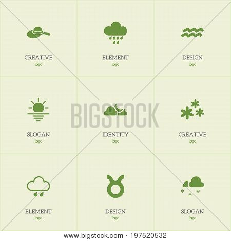 Set Of 9 Editable Climate Icons. Includes Symbols Such As Precipitation, Sunrise, Headwear And More