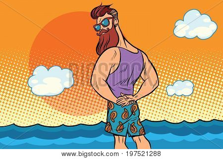 bearded hipster is resting on the sea. Comic book cartoon pop art retro color illustration drawing
