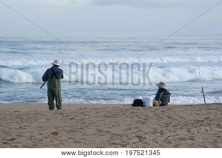 Senior Female And Male Surf Fishing, Waitpinga, South Australia