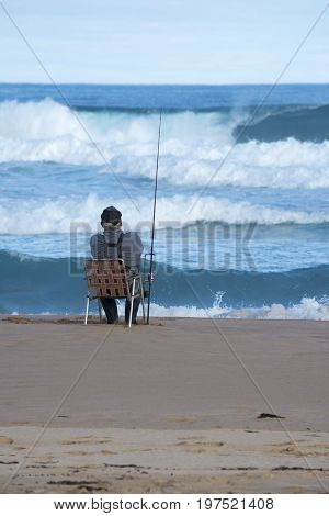 Senior Fisherman Surf Fishing, Waitpinga, South Australia