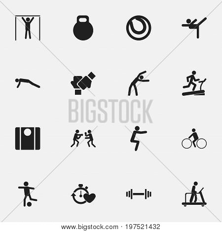 Set Of 16 Editable Healthy Icons. Includes Symbols Such As Racetrack Training, Gauntlet, Exercise And More