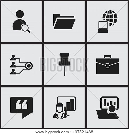 Set Of 9 Editable Bureau Icons. Includes Symbols Such As Publicity, World, Architecture And More