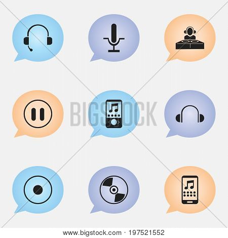 Set Of 9 Editable Melody Icons. Includes Symbols Such As Rec, Disc, Music Phone And More