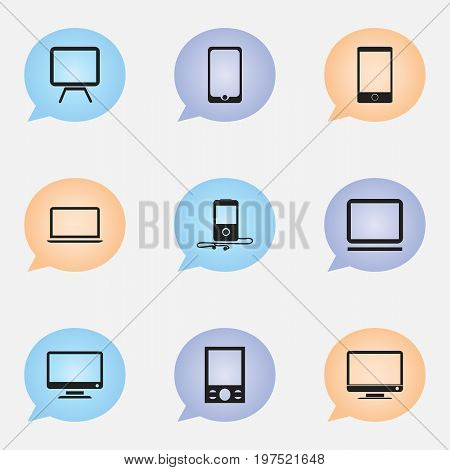 Set Of 9 Editable Instrument Icons. Includes Symbols Such As Music Phone, Tv, Telephone And More