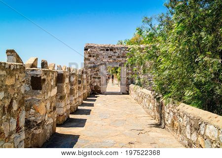 Walls of the famous Bodrum Castle of St. Peter in Turkey.