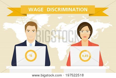 Gender inequality in wages. Feminism and Emancipation. Man and woman on the map background