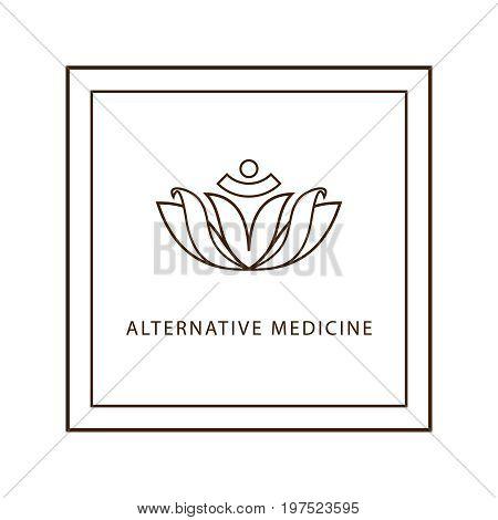 Alternative Medicine logo. Stylized image of the lotus. A symbol of health.Modern linear style.