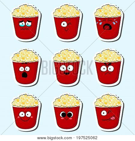 Cartoon popcorn cute character face isolated vector illustration. Funny face icon collection. Cartoon face food emoji. Popcorn emoticon. Funny food sticker.