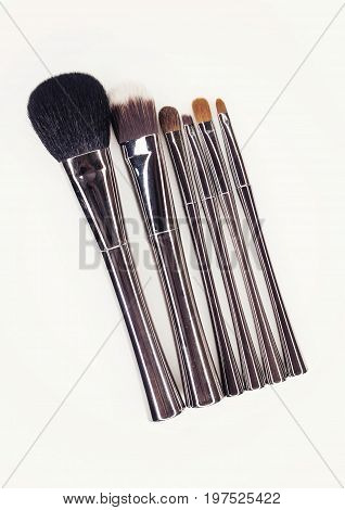 Make-up Brushes With Silver Handle.