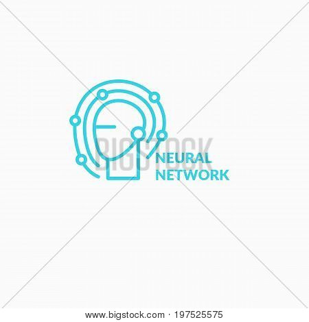 Neural networks, conceptual sign and logo. The analytical system. Vector illustration.