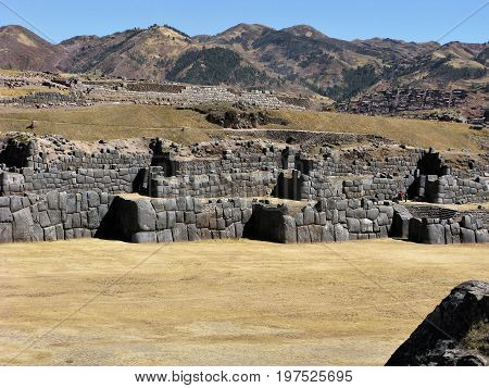 Inca stone walls at Saksaywaman near Cusco, Peru