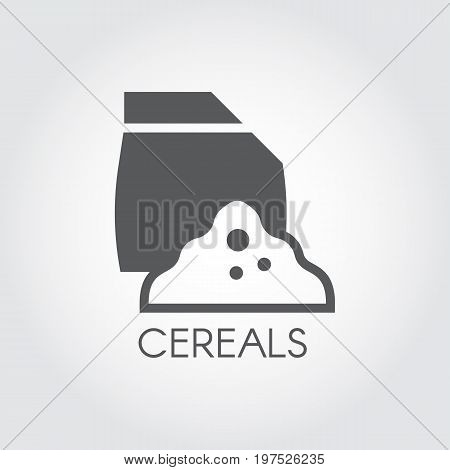 Bag with abstract cereals ingredient. Logo in flat icon. Culinary theme. Vector black and white pictograph. Image on a gray background
