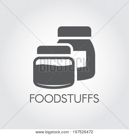 Kitchen boxes for various products and ingredients. Icon in flat design. Foodstuffs black label. Vector illustration on a gray background