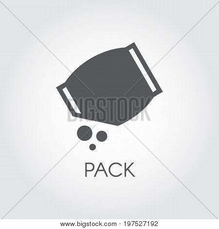Flat icon of grocery pack with abstract bulk ingredient. Culinary concept. Vector black logo on a gray background