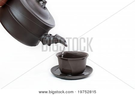 Traditional Pottery Teapot And Cup