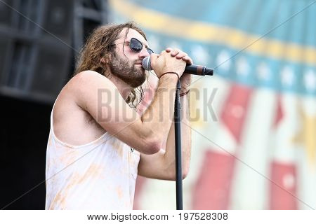 TWIN LAKES, WI- JUL 22: Ryan Hurd performs during Country Thunder Music Festival on July 22, 2017 in Twin Lakes, Wisconsin.