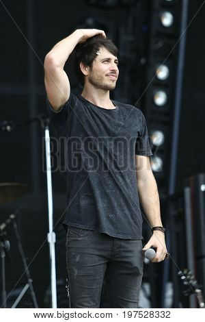TWIN LAKES, WI- JUL 22: Morgan Evans performs during Country Thunder Music Festival on July 22, 2017 in Twin Lakes, Wisconsin.