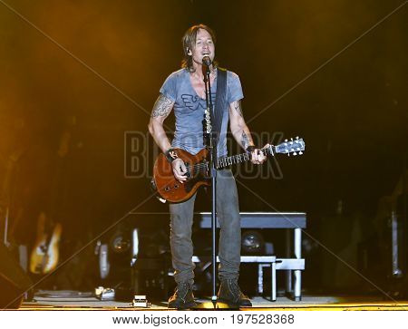 TWIN LAKES, WI- JUL 21: Keith Urban performs during Country Thunder Music Festival on July 21, 2017 in Twin Lakes, Wisconsin.