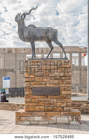 WINDHOEK NAMIBIA - JUNE 18 2017: A well-known landmark the kudu statue in Independence Avenue in Windhoek the capital city of Namibia