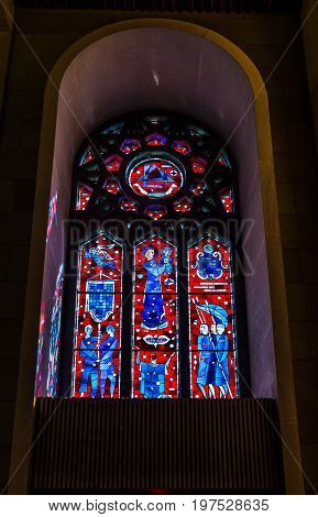 Montreal Canada - May 28 2017: Inside St Joseph's Oratory on Mont Royal tall walls and stained glass murals in Quebec region city