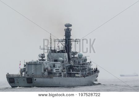 BRITISH FRIGATE - A warship on a patrol in the sea