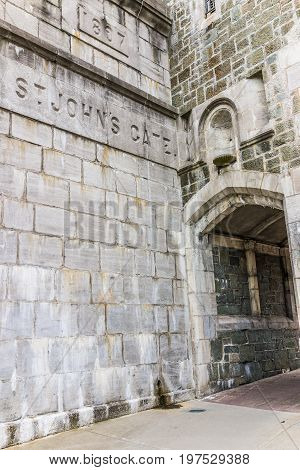 Quebec City Canada - May 29 2017: Saint John's Gate Fortress entrance to old town street sign closeup