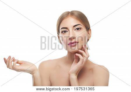 Beauty Woman Showing Empty Palm