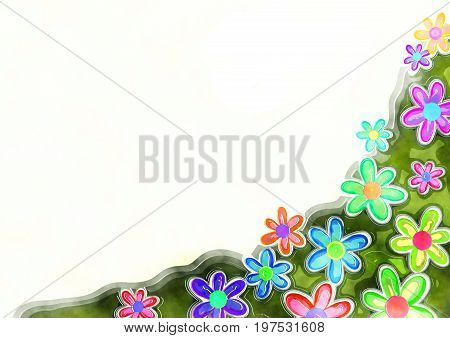 A digitally painted watercolour style daisy flower page border with white copyspace.