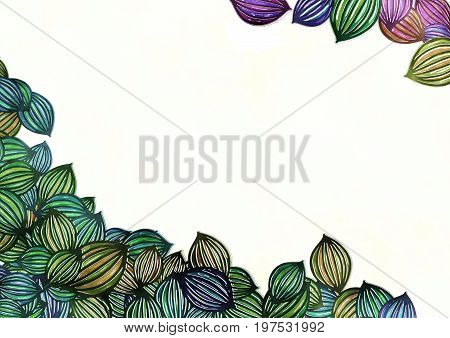 A digitally painted watercolour style leaf page border with white copyspace.