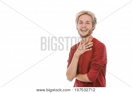 Concept of joy. Happy joyful young man stylish bearded male smiling laughing isolated on white