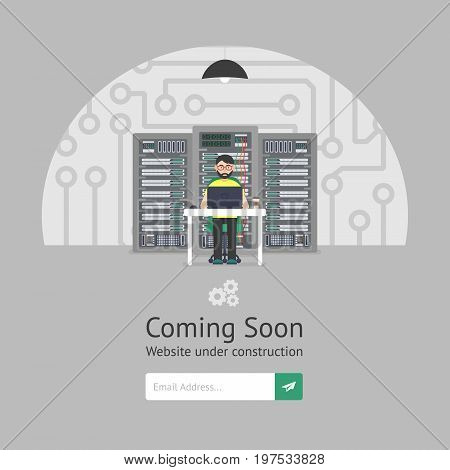 Website is under reconstruction. Male system administrator. Website Template. Coming Soon. Flat style. Vector illustration.