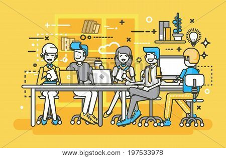 Stock vector illustration business people men women employees colleagues negotiating conference planning table teamwork brainstorm presentation leader boss meeting assembly collection line art style