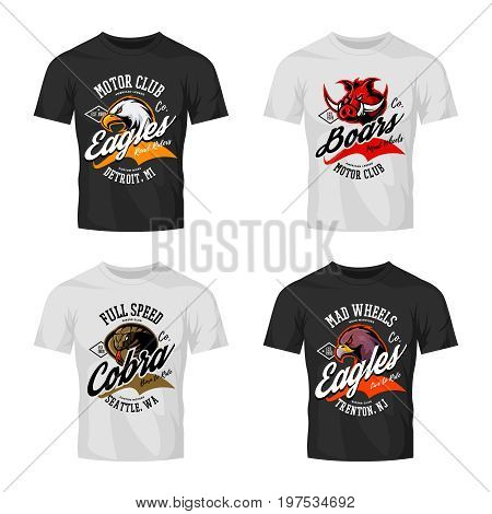 Vintage furious eagle, boar, cobra bikers club tee print vector vector design isolated on t-shirt mockup. Street wear t-shirt emblem set. Premium quality wild animal logo concept illustration.