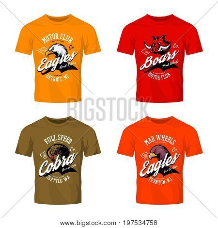 Vintage furious eagle, boar, cobra bikers club tee print vector vector design isolated on color t-shirt mockup. Street wear t-shirt emblem set. Premium quality wild animal logo concept illustration.