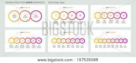 Business infographics. Presentations with 3, 4, 5, 6, 7, 8 steps. Connected circles. Vector infographic templates.