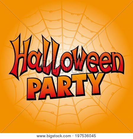 Halloween party orange banner on the background of cobwebs.